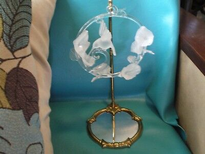 Vintage Frosted Glass Hummingbird & Flowers Hand Blown Art Sculpture on Mirror