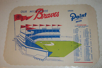 Our Milwaukee Braves 1957 Placemat Point Beer Ad World Series Win Year NM
