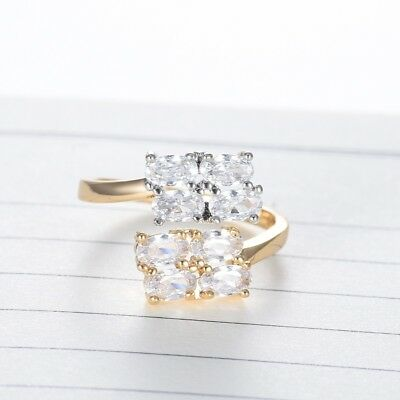 Stunning Clear White Sapphire Crystal Gold Platinum Ring Any Sizes Adjustable