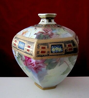 """Antique Nippon Hand Painted Moriage Vase Japan 9"""""""