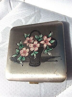 Vintage Dorset Fifth Avenue Mirrored Powder Compact w Basket of Pink Flowers