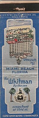 Vintage Hotel Matchbook Cover. The Whitman. Miami Beach, Fl.