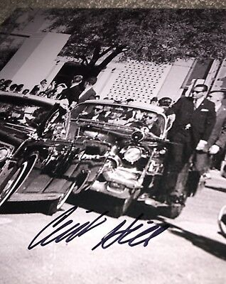 Clint Hill hand signed Kennedy Assassination 8x10 Photo Dealey Plaza