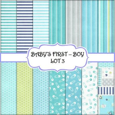 BABY'S FIRST - BOY - LOT 3 SCRAPBOOK PAPER - 14 x A4 pages
