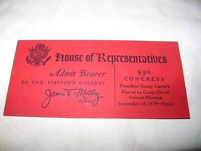 95Th Congress President Jimmy Carter Report Camp David Summit Meeting Ticket