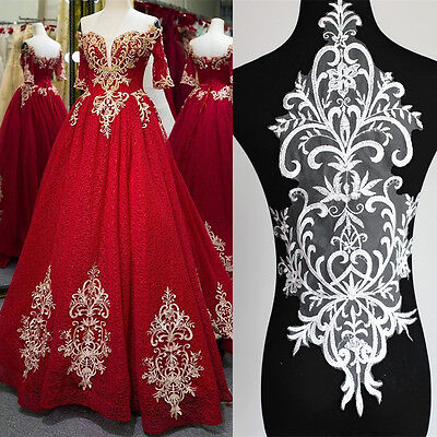 Big Bridal Lace Applique Embroidery Motif Trims Applique Wedding Dress 60cm*28cm