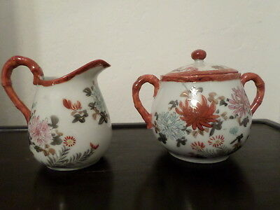 Beautiful Antique Japanese Kutani Creamer and Sugar Bowl