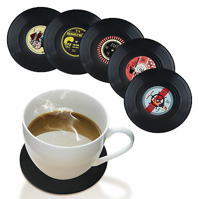 4PCS Round Vinyl Coaster Record Cup Groovy Drinks Holder Mat Placemat Tableware