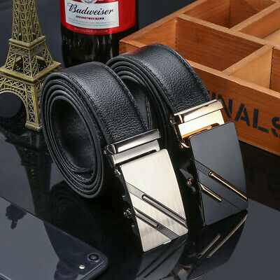 Fashion Automatic Belt Buckle Leather Belts Waist Strap Mens Business Waistband