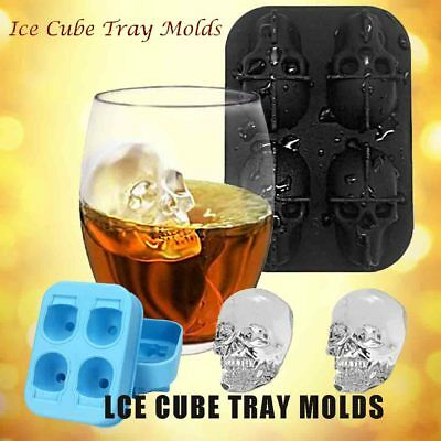 Whiskey Silicone Ice Cube Maker Mold Mould 3D Skull Brick Halloween Party Tray