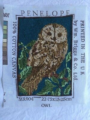 VINTAGE  Retro Needlepoint Penelope Owl  Tapestry Piece Completed