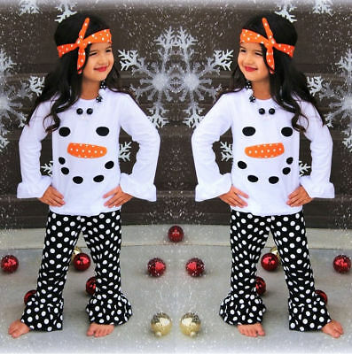 Toddler Kids Girls Christmas Snowman Olaf Tops Dot Pants Outfits Set Clothes