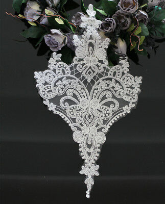 Ivory Bridal Corded Lace Applique Cotton Embroidery DIY Trim for Wedding Dress
