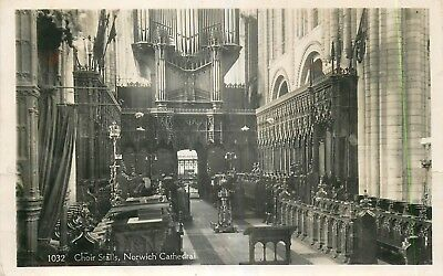 CARTE PHOTO angleterre norwich cathedral chair stalls
