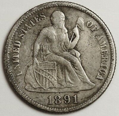 """1891-s Seated Liberty Dime.  Micro """"s"""".  V.F.  129330"""