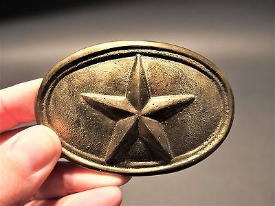 Antique Style Civil War Belt Buckle Plate Texas Star SOLID Brass