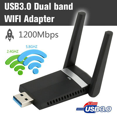 ADATTATORE USB PC WIFI 1200MBPS 2.4GHz/5.8GHz ANTENNA CHIAVETTA WIRELESS DONGLE