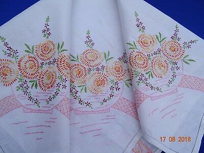 VINTAGE HAND EMBROIDERED WHITE TABLECLOTH - large bowl flowers x 4 corners