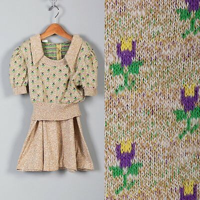 1970s Girls Outfit Tan Floral Sweater  Knit Skirt Short Sleeve Outfit VTG