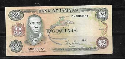 JAMAICA #69d 1987 VF CIRC $2 DOLLARS OLD BANKNOTE PAPER MONEY CURRENCY BILL NOTE