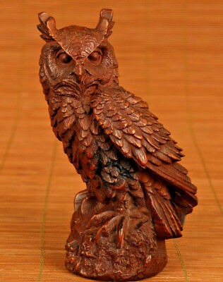 Unique Chinese Old Boxwood Handmade Carved Owl Statue Netsuke