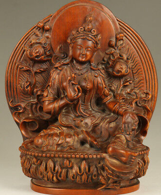 antique Chinese Big Old Boxwood Hand-Carved Buddha Kwan-yin Statue Collectable