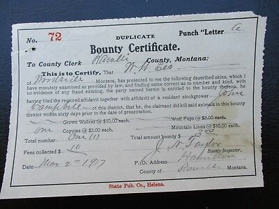 1907 Killing Coyote,Wolves,Mountain Lion in Woodside,Montana Bounty document
