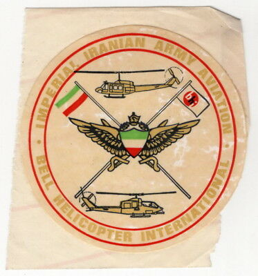 """Vintage Sticker """"Imperial Iranian Army Aviation - Bell Helicopter International"""""""