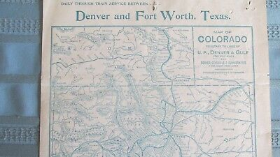 1900's Union Pacific Denver & Gulf Railway Route Map-Baldwin Colorado Mine Spur