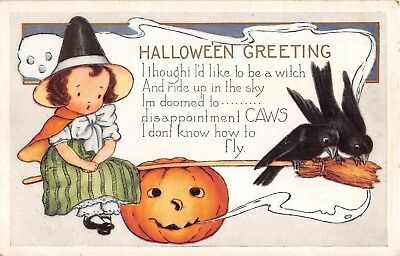 c.1920 Girl Witch with Broom Ravens & Jack O Lantern Halloween post card Whitney