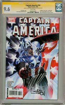 CAPTAIN AMERICA #34 CGC 9.6 SIGNATURE SERIES SIGNED JOE SIMON ALEX ROSS EPTINGt