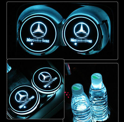For Mercedes-Benz LED Car Cup Holder Pad Mat Auto Atmosphere Light Colorful 2PCS