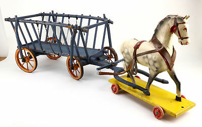 """XX LARGE  Old Wooden Carriage Wagon Carriage Horse Harness 1900 Farm Cart 42"""""""