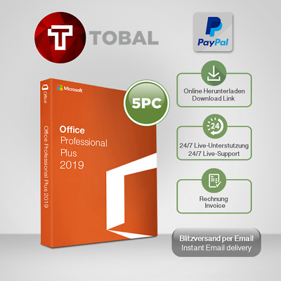 MS Office 2019 Professional Plus 1-5PC, 32&64 Bits, produkt-key per email
