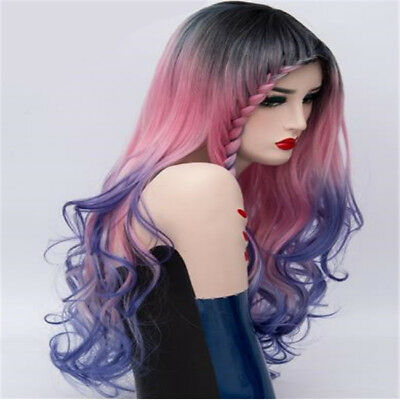 Long Curly Wavy Wigs Heat Resistant Hair Gradient Color Cosplay Female Wig D