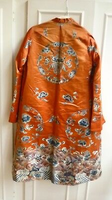 Antique Chinese Embroidered Silk Surcoat or Opera Coat w/ Roundels, Qing, c.1900