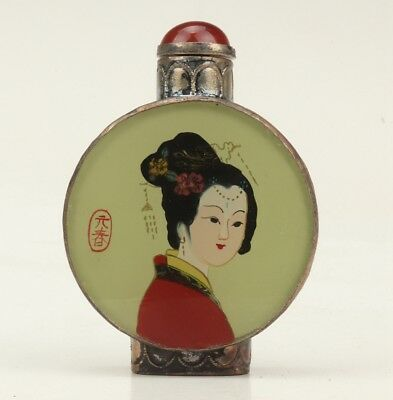 Vintage Japanese Style Tibetan Silver Glass Snuff Bottle Statue Old Decorative