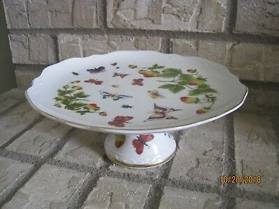 "Ardalt Lenwile Butterflies and Ladybug 9 3/8"" Pedestal Cake/Serving Plate #6181"