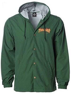 e472d63aa4ea Thrasher Magazine Flame Logo COACH Windbreaker Jacket Men s Size Large Green
