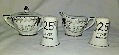 25 Anniversary Lefton Porcelain Creamer & Sugar Bowl Bradley Salt Pepper Japan E