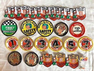 Big Home Depot Patch & Pin Lot- Service patches, Homer Award, etc...