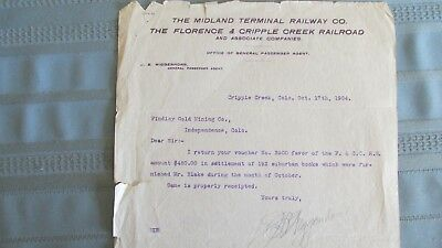 1904 Florence & Cripple Creek RR & Midland Terminal RY. Letterhead-Findley Mine