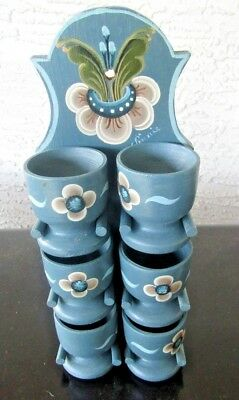 Swedish Painted Wood 6 Cups with Holder Wall Hanging Decoration Folk Art Vintage