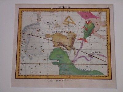 "Antique Hand Colored Celestial Painting Map Astrological ""aries"" Le Belier 1776"