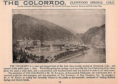 1893 B Ad  The Colorado Hotel Resort Glenwood Springs Great Swimming Pool