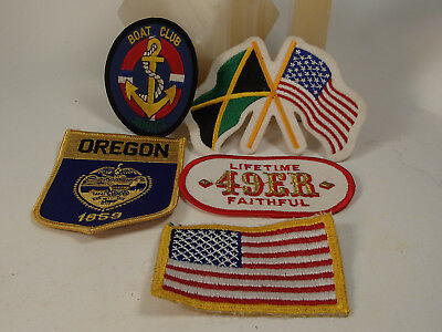 1980s Vintage 5 Travel theme embroidered patch lot  Jamaica Oregon 49ers USA