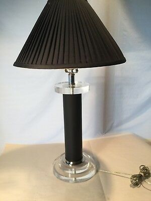 Vtg Mid Century Modern Retro Black Lucite/Acrylic Table Lamp