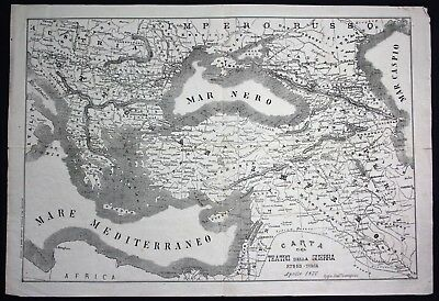 1877 - Russia Turkey Istanbul Krieg war map Karte Lithographie Litho lithograph