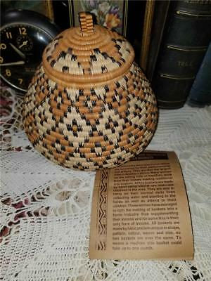 """Vtg Small 7"""" Zulu African Hand Woven By Woman Basket With Lid Collectible Art"""