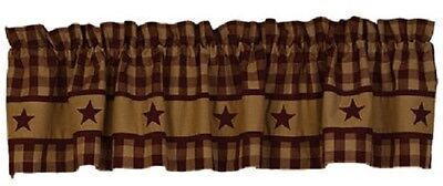 Country Primitive Homespun Cranberry Star Valance Rustic Colonial Farmhouse